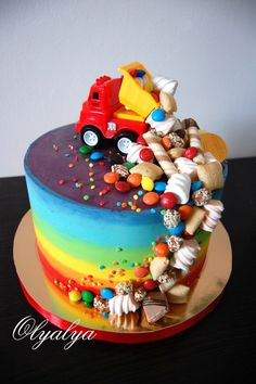Sweets Falling Out Of Truck Cake