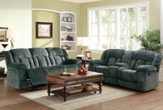 Laurelton Charcoal Double Glider Reclining Love Seat W/Console