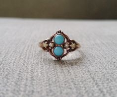 Antique Engagement Ring Seed Pearl Turquoise Low Profile Rose Gold 14K 1800s Indian Victorian Art deco Flower Bohemian Estate Size 7.25