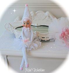 'Miss Snowflake' white vintage elf on shelf knee hugger <3 xo