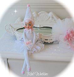 'Miss Snowflake' white vintage elf on shelf knee hugger <3 xo