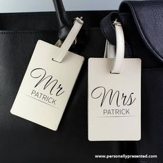 Personalised Mr & Mrs Classic Cream Luggage Tags<p><span>Our personalised Mr & Mrs cream luggage tags are the perfect way to set off for a honeymoon in style.</span><br><br><span>These luggage tags can be personalised with any surname up to 12 characters.</span><br><br><span>The message entered will appear in fixed uppercase.</span><br><br><span>The luggage tags fastens with a secure buckle and is ideal for attaching to the handle of a suitcase, rucksack or handbag. The tags also features a…