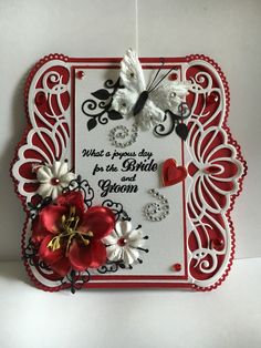 Wedding card I made for a friend, 6/18/2016. Used Heartfelt Creations Regal…