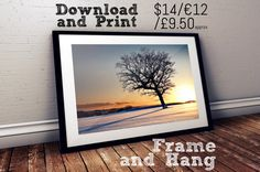 Landscape photography print, tree in the snow, surreal print, tree in winter, tree at sunrise, cold landscape, printable, instant download