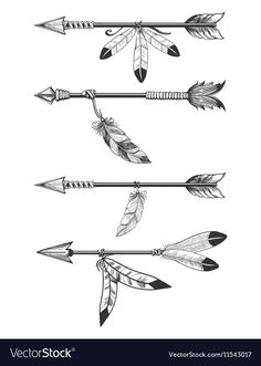 Arrows with feathers and beads Royalty Free Vector Image , Native American Tattoos, Native Tattoos, Native American Symbols, Arrow Tattoos For Women, Dragon Tattoo For Women, Feather Drawing, Arrow Drawing, Indian Arrow Tattoo, Arrow Tattoo Design