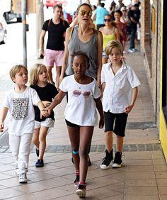 Angelina Jolie and kids visits Berkelouw books store in Sydney., Australia.
