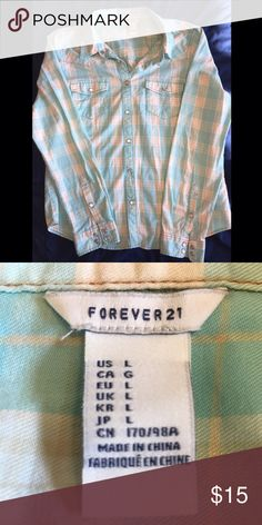 Forever 21 Light Blue Button Up Forever 21 Light Blue Button Up. Bright, unique coloring. Pretty for spring or summer. Nice color for an Easter outfit! Runs a little small. Offers are accepted💙 Forever 21 Tops Button Down Shirts