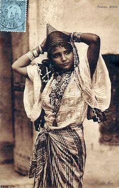 "Africa   ""Femme Arabe""  Tunisia.  Post stamped 1908    Vintage postcard; publisher  photographer ND.       Source; http://www.ebay.com/itm/Tunisia-Femme-Arabe-Native-Lady-Girl-1908-/121466291479"