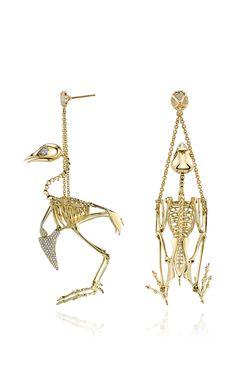 Quail Skeleton Earrings by Daniela Villegas for Preorder on Moda Operandi