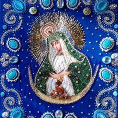 Остробрамская Богородица - икона,икона бисером,икона вышитая бисером,икона в подарок
