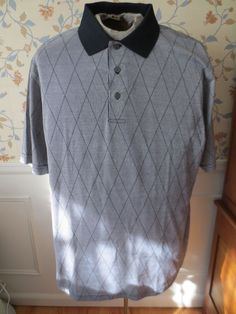 Jos A Bank Leadbetter Golf Polo Shirt Short Sle L Cotton Black White Camp Argyle #JosABank #PoloRugby