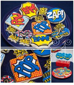 superhero birthday party cookies - 10 boy party ideas you will love www.spaceshipsandlaserbeams.com