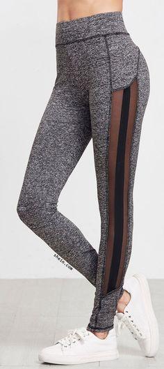 Grey Marled Knit Mesh Panel Leggings