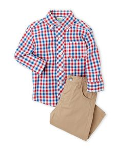 Lucky Brand (Infant Boys) Two-Piece Check Button-Down Shirt & Pants Set
