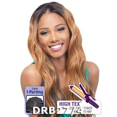 "Outre Futura Synthetic Hair ""I"" Part Lace Front Wig - LOOSE TIP (Ombre Colors, Dipped Ends Colors) Skillfully Handcrafted for natural hairline to achieve beauty and style you always wanted. HighTex (f"