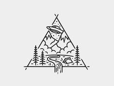 Easy Drawings UFO Camp by Liam Ashurst - Dribbble - View on Dribbble Tatoo Alien, Doodle Tattoo, Alien Tattoo, Mini Drawings, Cool Art Drawings, Doodle Drawings, Easy Drawings, Stick N Poke Tattoo, Stick And Poke