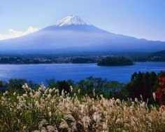 Mount Fuji with lake in foreground, Japan