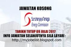 Jawatan Kosong Terkini di Suruhanjaya Tenaga (ST) - 09 Julai 2017  Jawatan kosong terkini di Majlis Perbandaran Klang (MPKlang) Julai 2017. Permohonan adalah dipelawa daripada warganegara Malaysia yang berkelayakan untuk mengisi kekosongan jawatan kosong terkini di Suruhanjaya Tenaga (ST) sebagai :1. Driver2. IT Technician3. Administrative AssistantTarikh tutup permohonan 25 Jun - 09 Julai 2017 Lokasi : Putrajaya Sektor : Kerajaan  Info jawatan selanjutnya disini via Myjonlist Jawatan Kosong