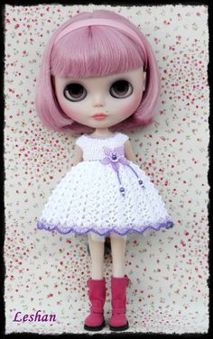 Blythe Beautiful Crochet Dress by leshan on Etsy.....she is such a gorgeous little doll.