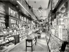 """AMAZING to see in full size. New York circa 1910-1915. """"N.Y. Drug Store, Pennsylvania Station."""" 8x10 inch dry plate glass negative, Detroit Publishing Company."""