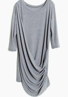 #SheInside Grey Half Sleeve Pleated Loose Dress