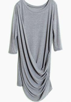 #SheInside Grey Half Sleeve Pleated Loose Dress
