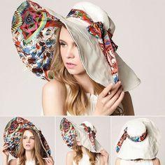 NEW Fashion Floral Design Large Wide Brim Foldable UV-Resistant Summer Beach Hat 5 Colors