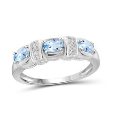 Jewelonfire Sterling Silver TGW Sky Blue Topaz and Diamond Accent Ring (White, Size: 8 Tanzanite Stone, Citrine Gemstone, Sapphire Stone, Opal, Colored Diamonds, White Diamonds, Topaz Ring, Fashion Rings, Jewelry Sets