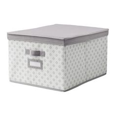 "SVIRA Box with lid - gray/white flowers, 15 "" - IKEA - great as linen closet storage boxes, perfect for seasonal containers."