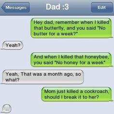 Funny iPhone texts, text messages, sms jokes for iPhone Funny Texts Jokes, Text Jokes, Funny Text Fails, Funny Shit, Funny Stuff, Funny Dad, That's Hilarious, Stupid Texts, Text Pranks