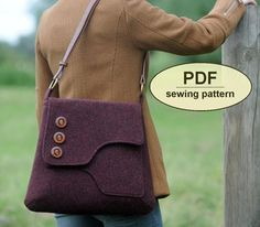 Sewing pattern to make the Saxted Green Satchel - PDF pattern INSTANT DOWNLOAD messenger style bag: