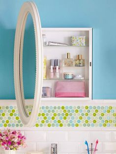 Make your wall space work better by doubling the use of a mirror with a cabinet behind. If you can't find a purpose made one then make your own by attaching a pretty framed mirror to a wall cabinet.
