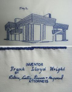embroidered blue prints of frank lloyd wright buildings