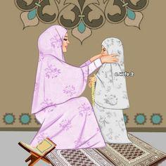 Mother And Daughter Drawing, Mother Art, Muslim Family, Muslim Girls, Girl Cartoon, Cartoon Art, Sarra Art, Islamic Cartoon, Anime Muslim