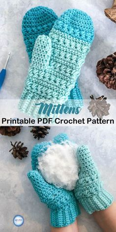 Cozy Mittens Crochet Patterns Great Cozy Gift - A More Crafty Life Crochet Mittens Free Pattern, Free Crochet, Knitting Patterns, Knit Crochet, Knitting Tutorials, Hat Patterns, Crochet Granny, Loom Knitting, Ideas