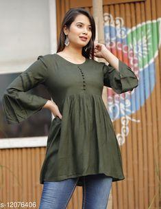 Tops & Tunics Charvi Bottle Green Rayon Slub Solid Bell SleevesTop  Fabric: Rayon Slub Sleeve Length: Three-Quarter Sleeves Pattern: Solid Multipack: 1 Sizes: S (Bust Size: 36 in)  XL (Bust Size: 42 in)  L (Bust Size: 40 in)  M (Bust Size: 38 in)  XXL (Bust Size: 44 in)  Country of Origin: India Sizes Available: S, M, L, XL, XXL   Catalog Rating: ★4.2 (459)  Catalog Name: ☀️Urbane Glamorous Women Tops & Tunics CatalogID_2304590 C79-SC1020 Code: 303-12076406-117