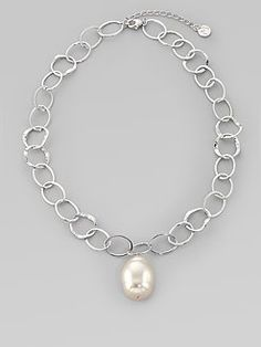 Majorica Chain Necklace with Gray Pearly Charm C0e4DCbCP