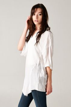 Kira Tunic Shirt in Soft White   Awesome Selection of Chic Fashion Jewelry   Emma Stine Limited