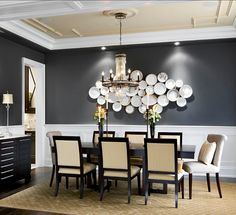 love this dining room, white painted furniture, textured neutral