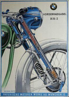 Original vintage motobike poster BMW front wheel fork of - SCHLENZIG Brat Motorcycle, Motorcycle Posters, Bmw Motorcycles, Vintage Motorcycles, Bmw Front, Old School Art, Suv Bmw, Bmw Vintage, Retro Vintage