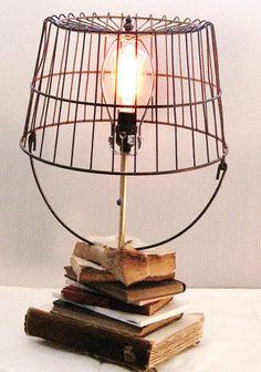Upcycled Vintage Book Metal Basket Table Lamp by strokeofartshop, $125.00