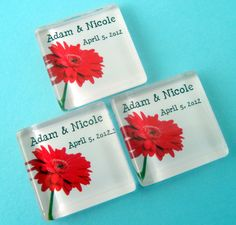 Personalized Wedding Favor Magnets - Red Gerber Daisy  - 1 Inch Square Glass - 100 Magnet Favors. $175.00, via Etsy.