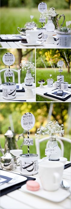 DIY-Tischdeko für einen Hochzeitstisch