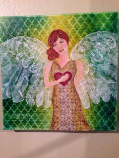 Mixed media angel by Brenda Bennett Traditional Paintings, Mixed Media Art, Wrapped Canvas, Original Paintings, Angel, The Originals, Create, Gallery, Artwork