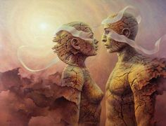 Artist Tomasz Alen Kopera Movement surrealism Type oil on canvas Dimensions 81 x 61 [cm] / 32 x 24 [in] Status reserved Twin Flame Relationship, Twin Flame Love, Twin Flames, Twin Souls, Psy Art, 7 Chakras, Surreal Art, Oil On Canvas, Fantasy Art
