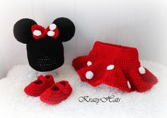 Crochet  M.Mouse hat, diaper cover and booties.. $38.00, via Etsy.