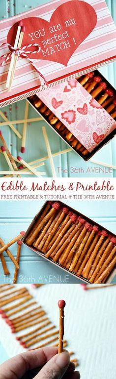 Top 50 non-candy Valentine ideas! Valentine Edible Box of Matches - 20 Best DIY Valentine's Day Gifts for Your Man Diy Valentines Gifts For Him, Valentines Day Treats, Valentine Day Love, Valentine Day Crafts, Funny Valentine, Valentine Ideas, Kids Valentines, Diy St Valentin, Diy Y Manualidades