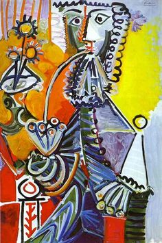 Pablo Picasso Paintings | art-painting-Pablo-Picasso-Cavalier-with-Pipe-1968
