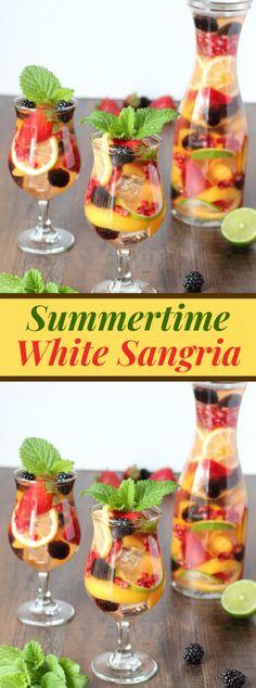 Summertime White Sangria #drink #summerdrink