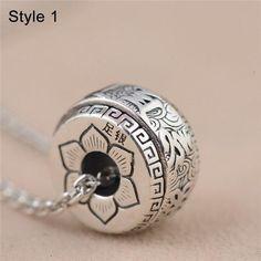 S999 Silver Buddhism Six True Word Round Pendant For Men Women Kids Vintage Thai Silver Lotus Charm Pendant Fit Necklaces